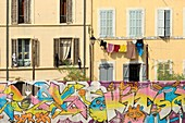 France, Bouches du Rhone, Marseille, Euromediterranee zone, Panier district, Street Art tour, guided tour of the murals by the graffiti artist Arnaud dit ASHA