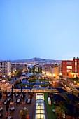 France, Bouches du Rhone, Marseille, Euromediterranee zone, city hall district, Villeneuve Bargemon square, Notre Dame de la Garde basilica from the hotel Intercontinental, the former Hotel Dieu (16th century)