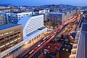 France, Bouches du Rhone, Marseille, Euromediterranee zone, La Joliette district, Les Docks, the A55 motorway from the Silo, Notre Dame de la Garde basilica