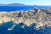 France, Bouches du Rhone, Calanques National Park, Marseille, Frioul Islands Archipelago, Pomegues Island, Cheminee Rock, Semaphore (aerial view)