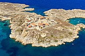 France, Bouches du Rhone, Calanques National Park, Marseille, Friuli Islands archipelago, Ratonneau Island, Ruins of Caroline hospital, Ratonneau and Saint Esteve coves, Eoube harbor back Plan (aerial view)