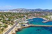 France, Bouches du Rhone, Marseille, La Plage area, Roucas Blanc Nautical base (aerial view)