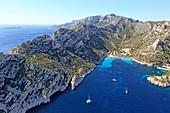 France, Bouches du Rhone, Calanques National Park, Marseille, Calanque de Sormiou, La Galere, Pointe de La Buse right (aerial view)
