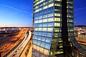 France, Bouches du Rhone, Marseille, Euromediterranee zone, Grand Port Maritime, Arenc district, coastal motorway (A55) and CMA CGM tower, architect Zaha Hadid