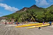 France, French Polynesia, Marquesas Archipelago, Ua Pou Island, Hakahau, outrigger canoes on the beach