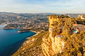 France, Bouches du Rhone, Calanques National Park, Cassis Bay from the top of the cliffs of Cap Canaille