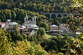 France, Jura, Morbier, Saint Michel church, Morbier viaduct, Les Hirondelles line, TER train