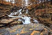 France, Hautes Alpes, Nevache, Claree valley, hamlet of Fontcouverte, the cascade of Fontcouverte on the river Claree