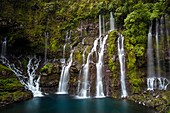 France, Reunion island, Reunion National Park listed as World Heritage by UNESCO, Saint Joseph, Langevin river on the flank of the Piton de la Fournaise volcano, Grand Galet waterfall or Langevin waterfall