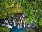 France, Reunion island, Reunion National Park listed as World Heritage by UNESCO, Saint Joseph, Langevin river on the flank of the Piton de la Fournaise volcano, Grand Galet waterfall or Langevin waterfall (aerial view)