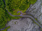 France, Reunion island, Reunion National Park listed as World Heritage by UNESCO, Piton de la Fournaise volcano, lava flow, Grand Brulé road (aerial view)