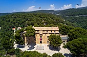 France, Vaucluse, Saumane de Vaucluse, Saumane castle, one of the residences of the Marquis de Sade and Common Swift (Apus apus) flying (aerial view)