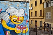 France, Bouches du Rhone, Marseille, Panier district, graffiti at the corner of the rue Poirier and Accoules