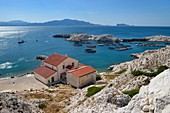 France, Bouches du Rhone, Marseille, Calanques National Park, archipelago of Frioul islands, natural port of the Pomegues island long time assigned to the quarantine of ships and nowadays aquaculture farm