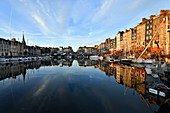 France, Calvados, Pays d'Auge, Honfleur, Vieux Bassin (old basin) and Sainte Catherine quay