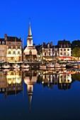 France, Calvados, Pays d'Auge, Honfleur, Vieux Bassin (old basin) and Sainte Etienne quay, St Etienne church