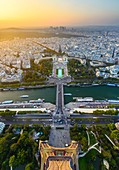 France, Paris, Paris, area listed as World Heritage by UNESCO, View from the top floor of the Eiffel tower at sunset