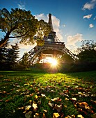 France, Paris, Paris, area listed as World Heritage by UNESCO, The Eiffel Tower at fall at sunset