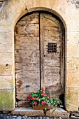 France, Aveyron, valley of Lot, Estaing, step on the path of Saint Jacques de Compostelle, listed as World Heritage by UNESCO, frontdoor of a traditional house