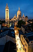 France, Paris, Montmartre, basilica of the Sacred Heart at night