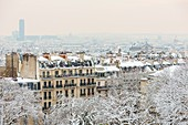 France, Paris, general view from Montmartre hill, snowfalls 07/02/2018