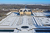 France, Seine et Marne, Maincy, the castle and the gardens of Vaux le Vicomte covered by snow (aerial view)