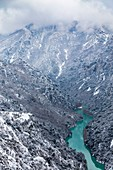 France, Alpes de Haute Provence, regional natural reserve of Verdon, Grand Canyon of Verdon, the Verdon river after a snowfall