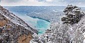 France, Alpes de Haute Provence, regional natural reserve of Verdon, the bridge of Galetas and the lake of Sainte Croix seen from the belvedere of the Galetas after a snowfall