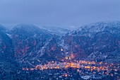 France, Alpes de Haute Provence, regional natural reserve of Verdon, Moustiers Sainte Marie, certified the Most beautiful Villages of France, overview of the village after a snowfall