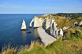 France, Seine Maritime, Pays de Caux, Cote d'Albatre (Alabaster Coast), Etretat, the Aval cliff, the Arch and the Aiguille (Needle) d'Aval