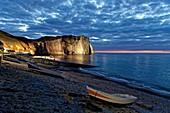 France, Seine Maritime, Pays de Caux, Cote d'Albatre (Alabaster Coast), Etretat, the beach, the Aval cliff, the Aval Arch