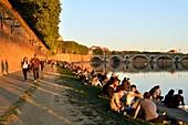 France, Haute Garonne, Toulouse, Garonne banks, Henri Martin Promenade, Quai Lucien Lombard and Pont Neuf