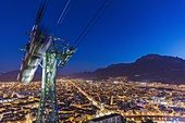 France, Isère, Grenoble, panorama since the fort of the Bastille, seen on the cable railway of Grenoble Bastille and its Bubbles, the oldest urban cable railway of the world and on Jean Jaures Courts the longest rectilinear avenue of Europe