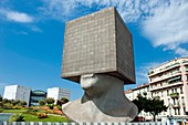 France, Alpes Maritimes, Nice, Louis Nucera Library in the Tete Carree by sculptor Sacha Sosno