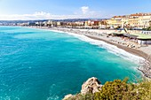 France, Alpes Maritimes, Nice, the Baie des Anges, the Quai des Etats Unis and the beach of Ponchettes from the esplanade of Rauba Capeù