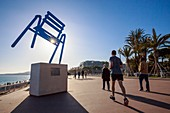 France, Alpes Maritimes, Nice, the SAB blue chair of the Nice artist Sabine Géraudie on the Promenade des Anglais