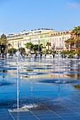 France, Alpes Maritimes, Nice, the promenade of Paillon or green casting, jets of water of the mirror of water of 3000 m2