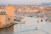 France, Bouches du Rhone, Marseille, the entrance to the Old Port and Fort Saint Jean