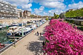 France, Paris, Port de l'Arsenal or Bassin de l'Arsenal links the Canal Saint-Martin to the Seine river, formerly a port of merchandise and since 1983 has become a marina