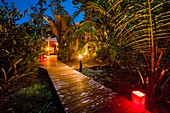 France, French Guiana, Kourou, resting huts and terraces, Wapa Lodge by night