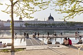 France, Rhone, Lyon, historical site listed as World Heritage by UNESCO, Rhone River banks with a view of Hotel Dieu and Notre Dame de Fourviere Basilica