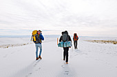 Hikers on White Sands National Monument,New Mexico,US