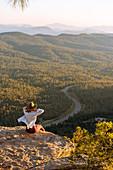 Woman enjoying sunset,Payson,Mogollon Rim,Arizona,United States