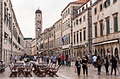 Stradun (main street) in Dubrovnik's old town and the Franciscan Church and Monastery, UNESCO World Heritage Site, Dubrovnik, Croatia, Europe