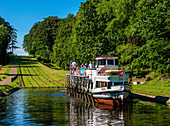 Tourist Boat in Cradle at Inclined Plane in Buczyniec, Elblag Canal, Warmian-Masurian Voivodeship, Poland, Europe