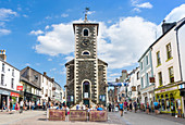 The Moot Hall and Tourist Information Centre in Keswick town centre, Lake District, Cumbria, England, United Kingdom, Europe