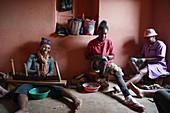 Silk weaver at work, Soatanana, Fianarantsoa province, Ihorombe Region, Southern Madagascar, Africa