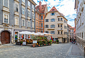 View of colourful architecture and cafes, Graz, Styria, Austria. Europe