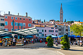 View of Rovinj Market overlooked by Cathedral of St. Euphemia in the Old Town of Rovinj, Croatian Adriatic Sea, Istria, Croatia, Europe