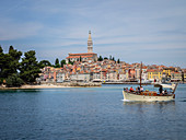 Excursion boat leaving harbour, Rovinj, Istria, Croatia, Europe